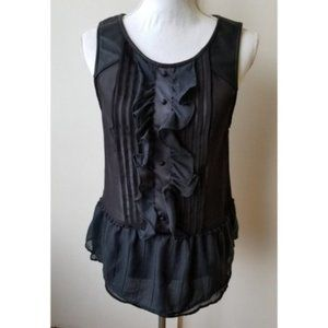 Free People Ruffle Leather Straps Sheer Top S